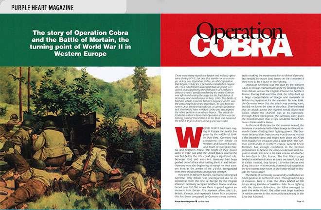Niche magazine design layout with story and illustration about the role of Operation Cobra in the Battle of Mortain, the turning point of World War II