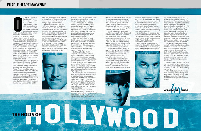 Niche magazine design layout with an article and photos featuring three generations of the Holts, a Hollywood acting family, and their military service