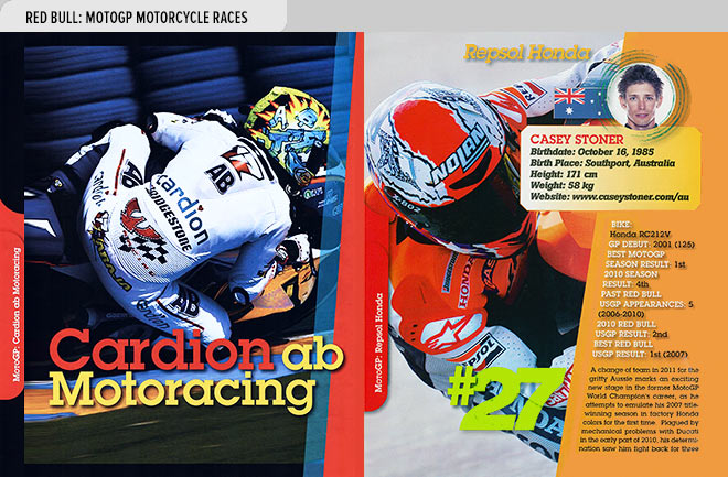 Event program design spread from the Red Bull MotoGP Motorcycle Races Official Program