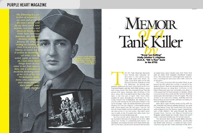 Niche magazine design layout with an article by Wally Righton about his service in WW II and photos of Righton from the period