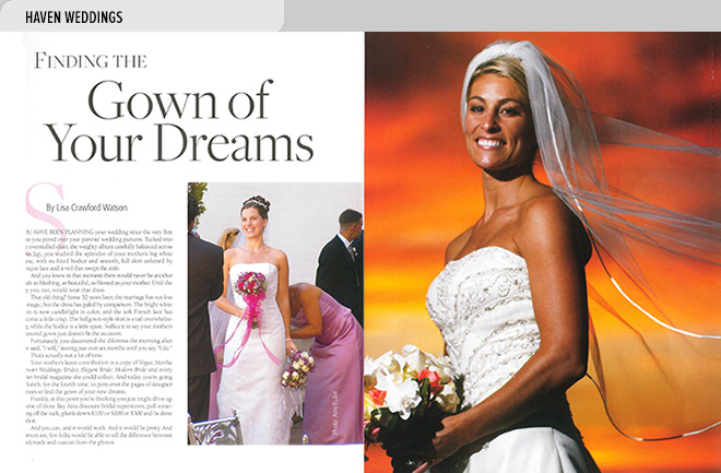 Niche magazine design layout with article about choosing a wedding gown and photos of brides in wedding gowns