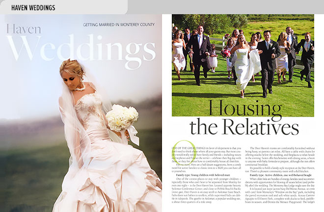 Niche magazine design layout with cover of Weddings magazine at left and article about housing wedding guests and photo of wedding party