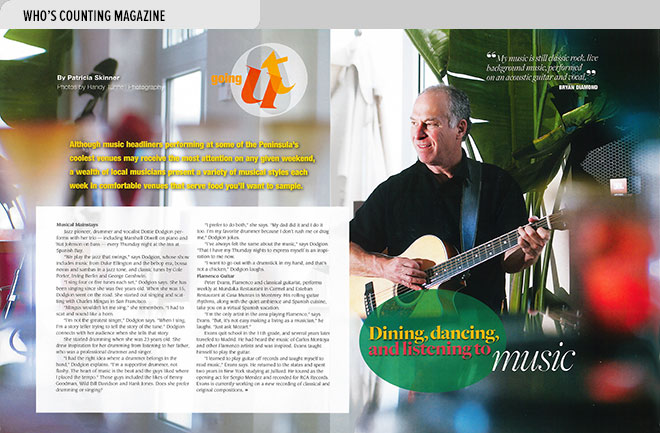 Niche magazine design layout about entertainment for older adults in Monterey, CA with photo of guitarist Bryan Diamond