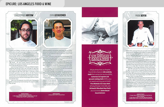 Event program design spread from Epicure, the official program of Los Angeles Food & Wine