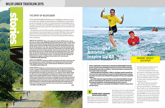 Event program design spread from the Wildflower Triathlon Program