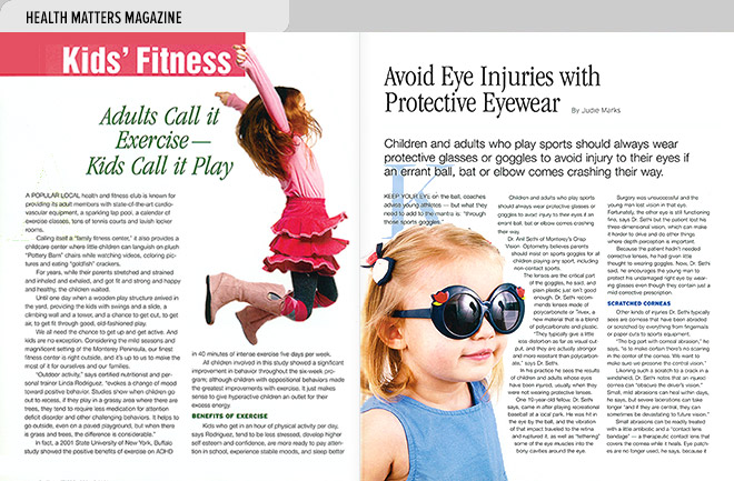 Health magazine design layout about kid's fitness and protective eyewear for children who play sports
