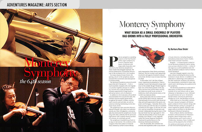 Art magazine design spread from Adventures Magazine about the Monterey Symphony, CA with photos of symphony musicians at left