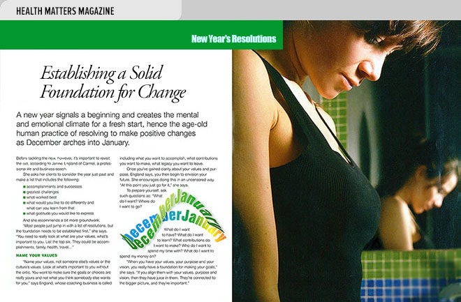 Health magazine design layout about making New Year's resolutions that last with a photo of a woman checking her weight