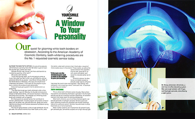 Health magazine design layout on teeth whitening with photos of a dentist using a light-activated bleaching system on a patient