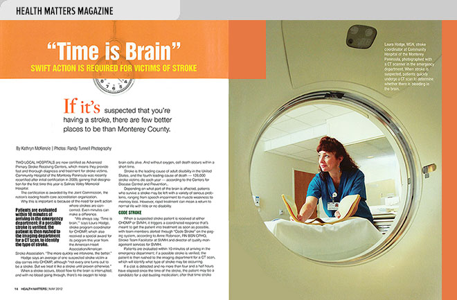 Health magazine design layout about treating stroke victims to minimize impairment, and photo of nurse with CT scanner