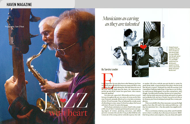 Home magazine design layout with photos and an article about musicians who support charities through jazz performance
