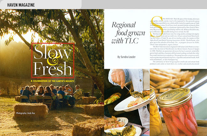 Home magazine design layout with photos and an article about the Slow Food fundraiser at Triple M Ranch, Las Lomas, CA