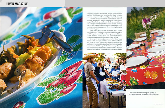 Home magazine design layout with photos of the food served at the Slow Food fundraiser at Triple M Ranch, Las Lomas, CA