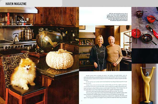 Home magazine design layout with photos of chef Wendy Brodie and husband Bob Bussinger at home in their Carmel, CA kitchen