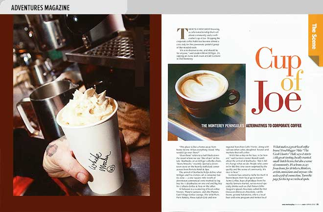 Lifestyle magazine design spread about coffeehouses near Monterey Bay
