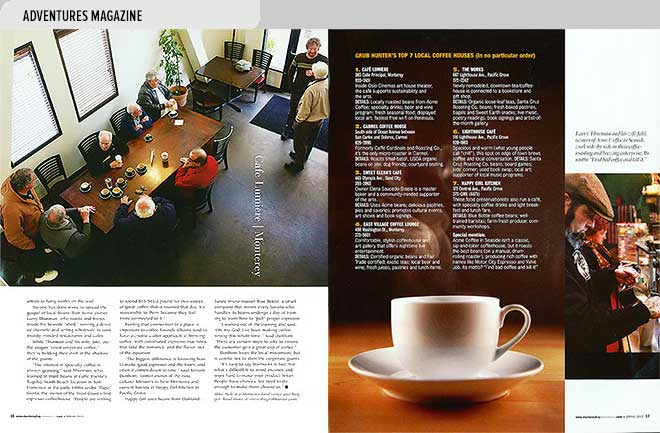 Lifestyle magazine design spread with list of best coffeehouses near Monterey Bay