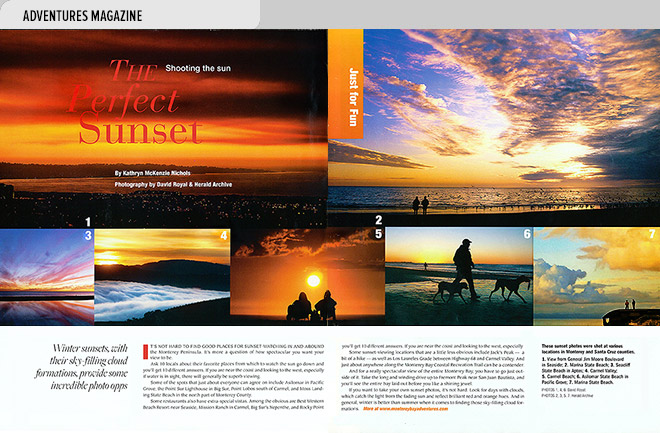 Lifestyle magazine design spread with views of sunsets along the Monterey Bay coast