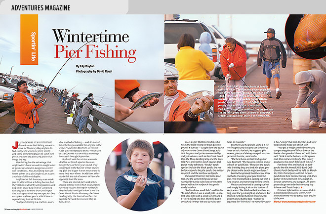 Lifestyle magazine design spread about wintertime pier fishing on Municipal Wharf #2 in Monterey CA with view of the Wharf and fish caught there