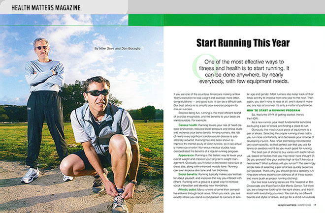 Health magazine design layout with photo of runners and an article about how to get started running